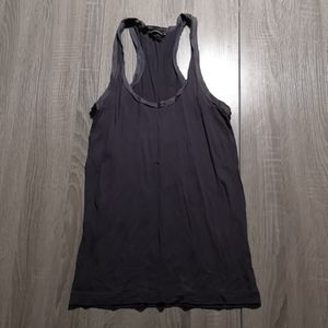 Matte blue jersey Tank with smooth trim